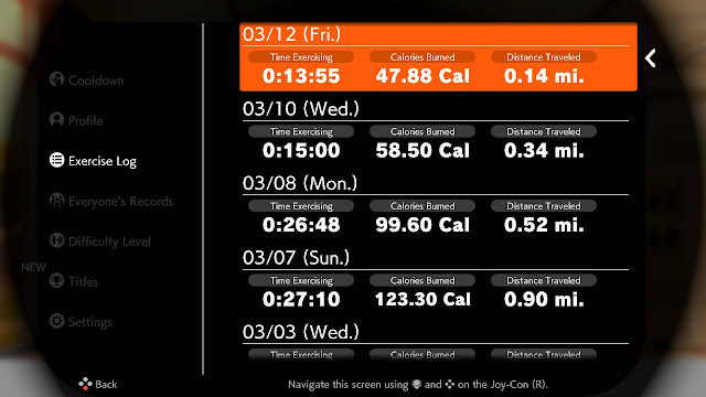Ring Fit Adventure Exercise Log Week World 31 Extra Fitness Lv. 204