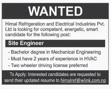 Mechanical Engineer Job Vacancy Himal Refrigeration And