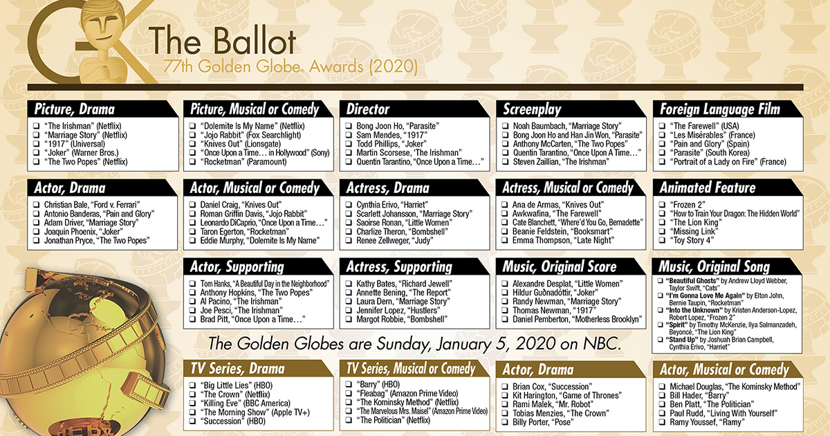 This is an image of Ambitious 2020 Oscar Ballot Printable