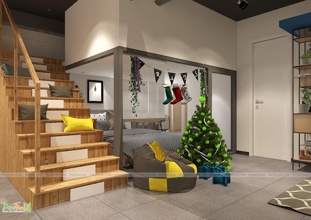 Khu vực phòng ngủ được thiết kế thêm 1 gác lửng để tận dụng tối đa không gian của căn hộ - Thiết kế và thi công nội thất căn hộ chung cư Officetel