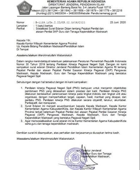 Surat Edaran Dirjen tentang Pejabat Penilai dan atasan Penilai SKP Guru dan Tenaga Kependidikan Madrasa