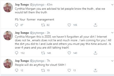 cynthia morgan says jude okoye held on to her name and social media accounts