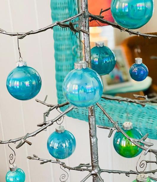 Turquoise Aqua Blue Christmas Ball Ornaments