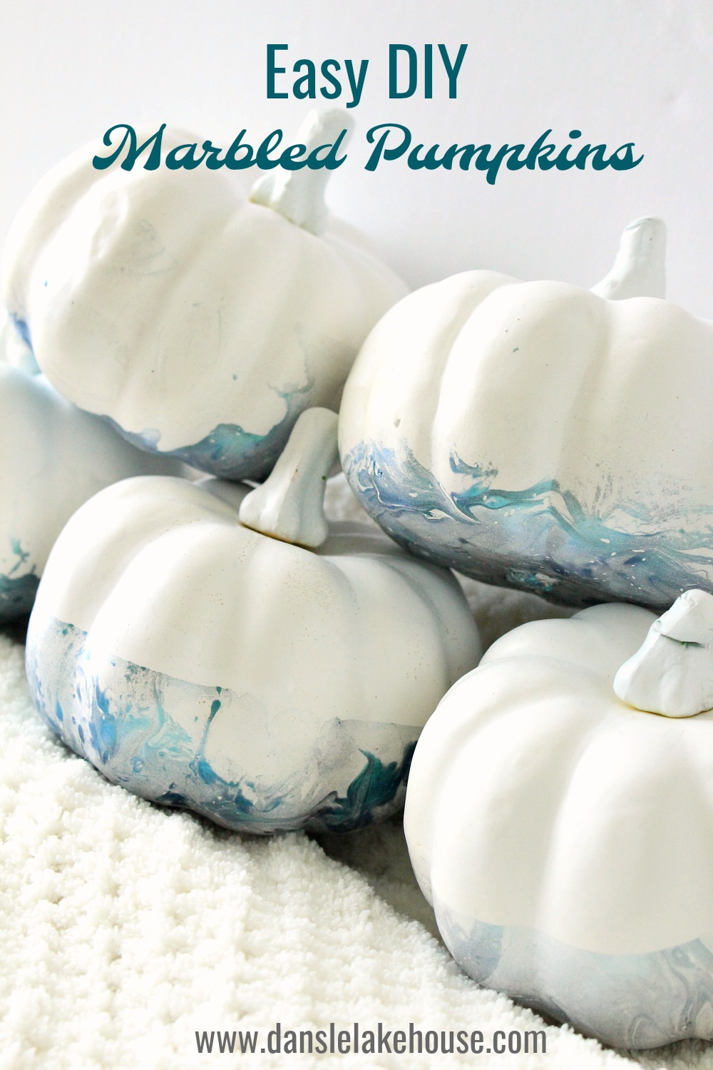 No Carve Marbled Pumpkins in Shimmery Teal | Minimalist Halloween Decor