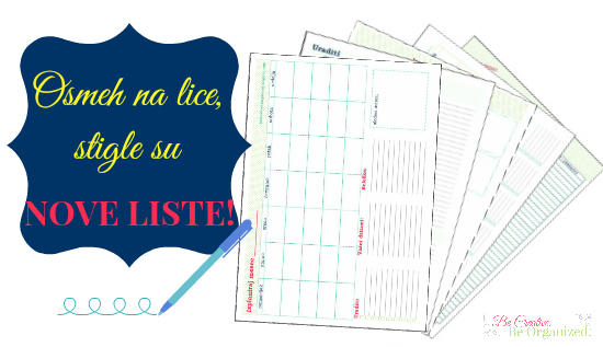 Nove liste: Plan obroka, mesečni i nedeljni planer i dr.