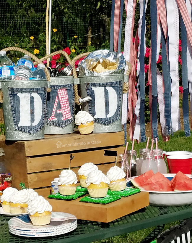 galvanized buckets, DAD tags, watermelon, cupcakes, football banner