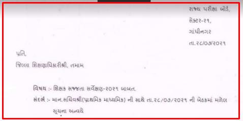 Shikshak Sajjata Servekshan 2021 Babat Paripatra | શિક્ષક સજ્જતા સર્વેક્ષણ 2021 બાબત