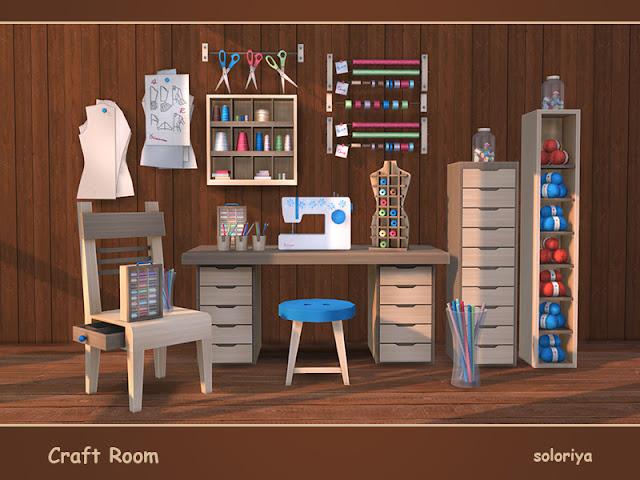 Craft Room Швейная мастерская для The Sims 4 Все, что вам нужно для вашей ремесленной комнаты. В набор входит 18 предметов. 3 цветовые палитры, 3-6 цветов для каждого объекта. Предметы в наборе: - швейная машина - стол письменный - кнопка стула - стол в прихожей - 2 стеллажа - пряжа - манекен - 6 деко - 4 настольных деко Автор: soloriya