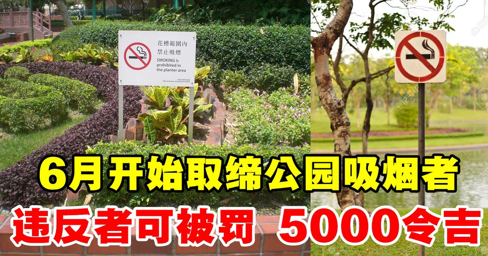 6月开始取缔公园吸烟者,违反者可被罚 5000令吉