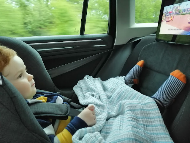 Toddler in car on way to Cambridgeshire
