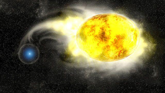 Esta visualização artística mostra uma estrela azul removendo o hidrogênio de uma estrela supergigante amarela.