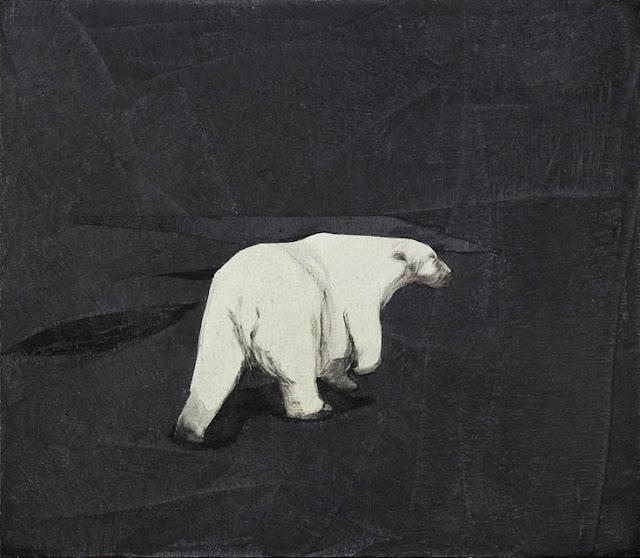 Quadro della pittrice contemporanea Lucia Conversi raffigurante un orso bianco su sfondo nero