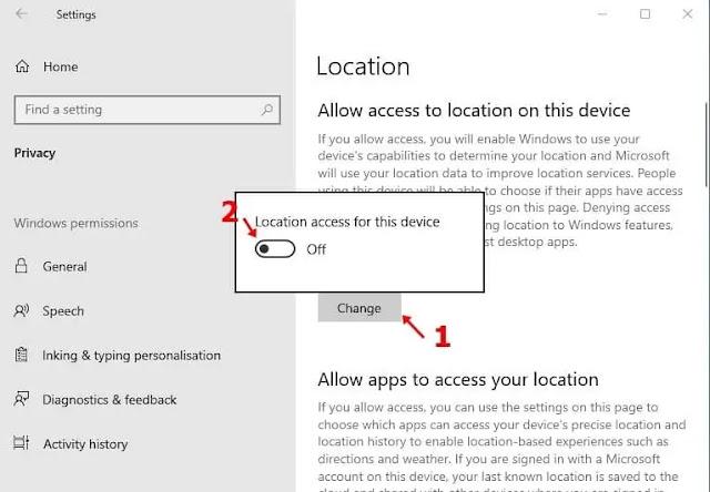Matikan 'lokasi akses untuk perangkat ini'
