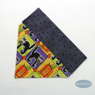 Halloween Dog Bandana, over the collar, Black Cats, Pumpkins