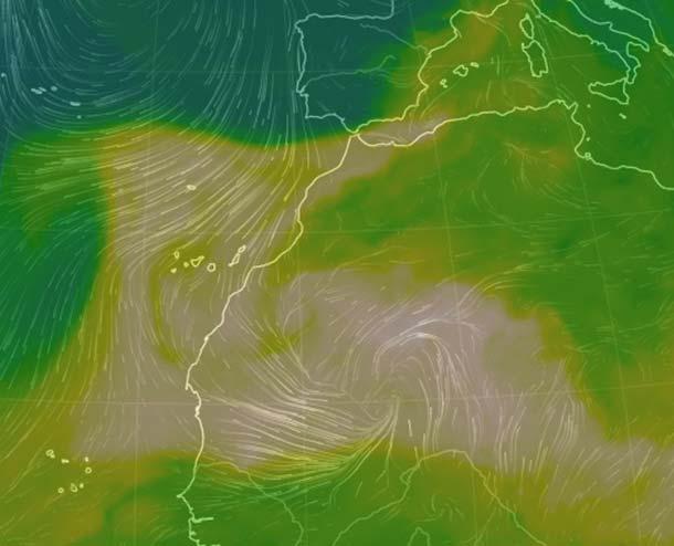 Polvo en suspensión a niveles altos  en Canarias por borrasca en África