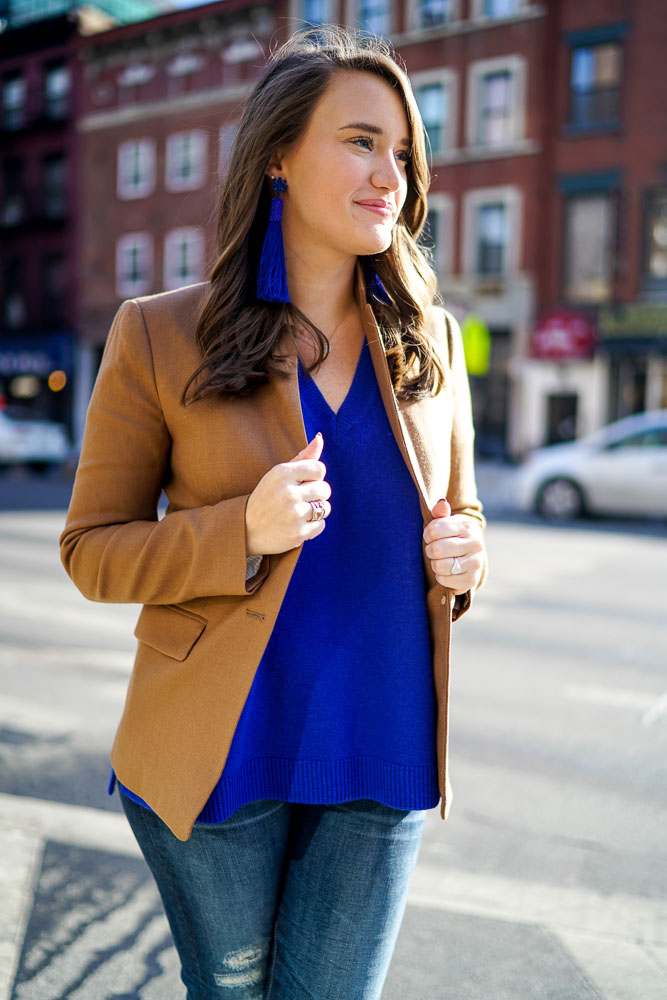 Krista Robertson, Covering the Bases,Travel Blog, NYC Blog, Preppy Blog, Style, Fashion, Fashion Blog, Travel, NYC, Chelsea, J.Crew, Spring Looks, Blue Sweaters, Casual Looks, Nude Heels, Preppy Style, NYC Street Style