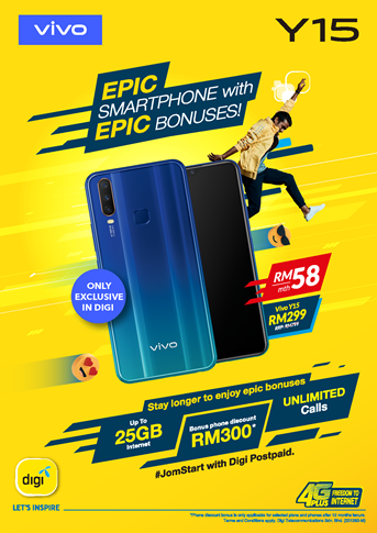 VIVO Y15 AVAILABLE NATIONWIDE FOR ONLY RM299 EXCLUSIVELY WITH DIGI POSTPAID 58 PLAN