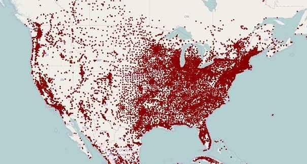 توزيع السكان فى امريكا