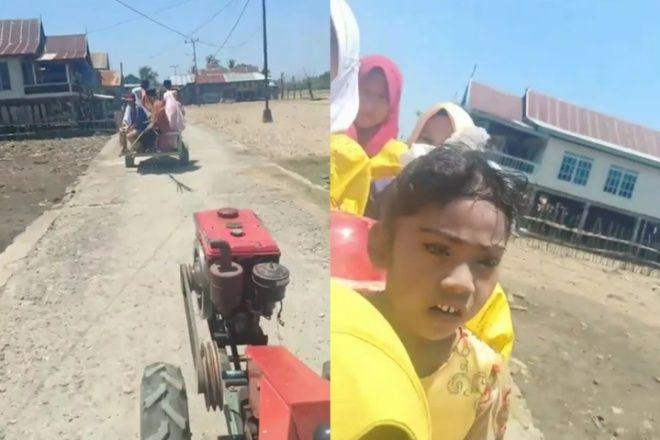 Unik, Mempelai Pria di Bone Kendarai Traktor ke Rumah Calon Istri