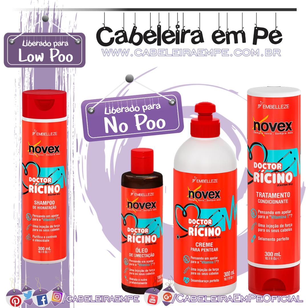 Shampoo (Low Poo), Codicionador, Creme para Pentear e Óleo Novex Doctor Rícino - Embelleze