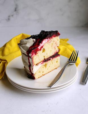 slice of blackberry shortcake cake served in small plate