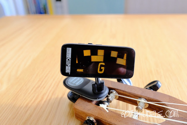 Peterson Stroboclip HD Tuner on ukulele