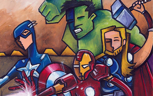A hand drawn picture of the Avengers. Thor, Captain America, Hulk & Iron Man.