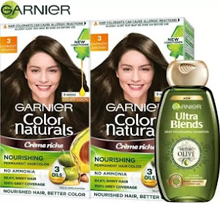Garnier Color Naturals Crme Hair Color - Shade 3 Darkest Brown 70ml+60g +Ultra Blends Shampoo Mythic Olive 360ml (Pack of 2)