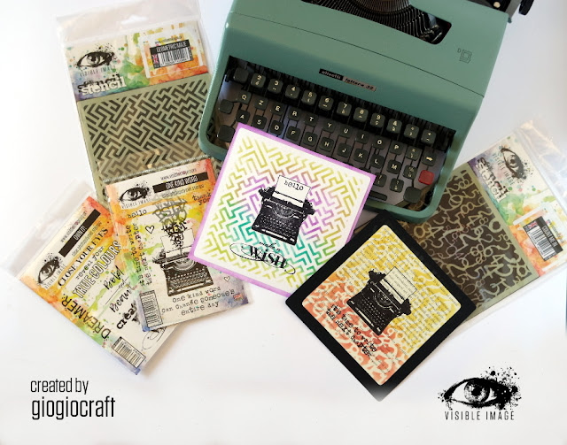 typewriter cards - stencils - stamps - visible image