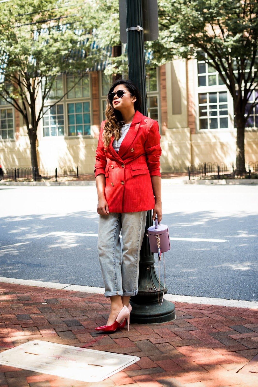 C/MEO collective red pinstripes double breat blazer, boyfrind jeans, red and blue and white, street style, bethesda photography, fashion blogger, dc blogger, style, ootd, style icon, red colorblock pumps style, myriad musings
