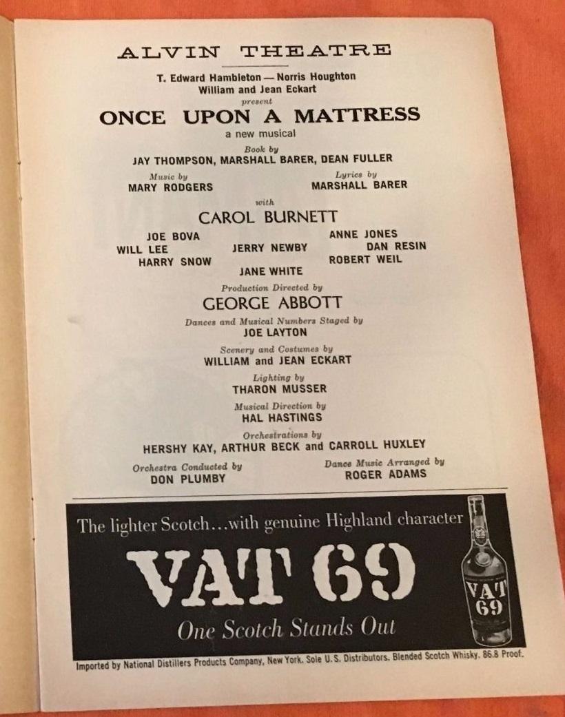 "Ann B. Davis replaced Carol Burnett in ""Once Upon A Mattress"" on Broadway"
