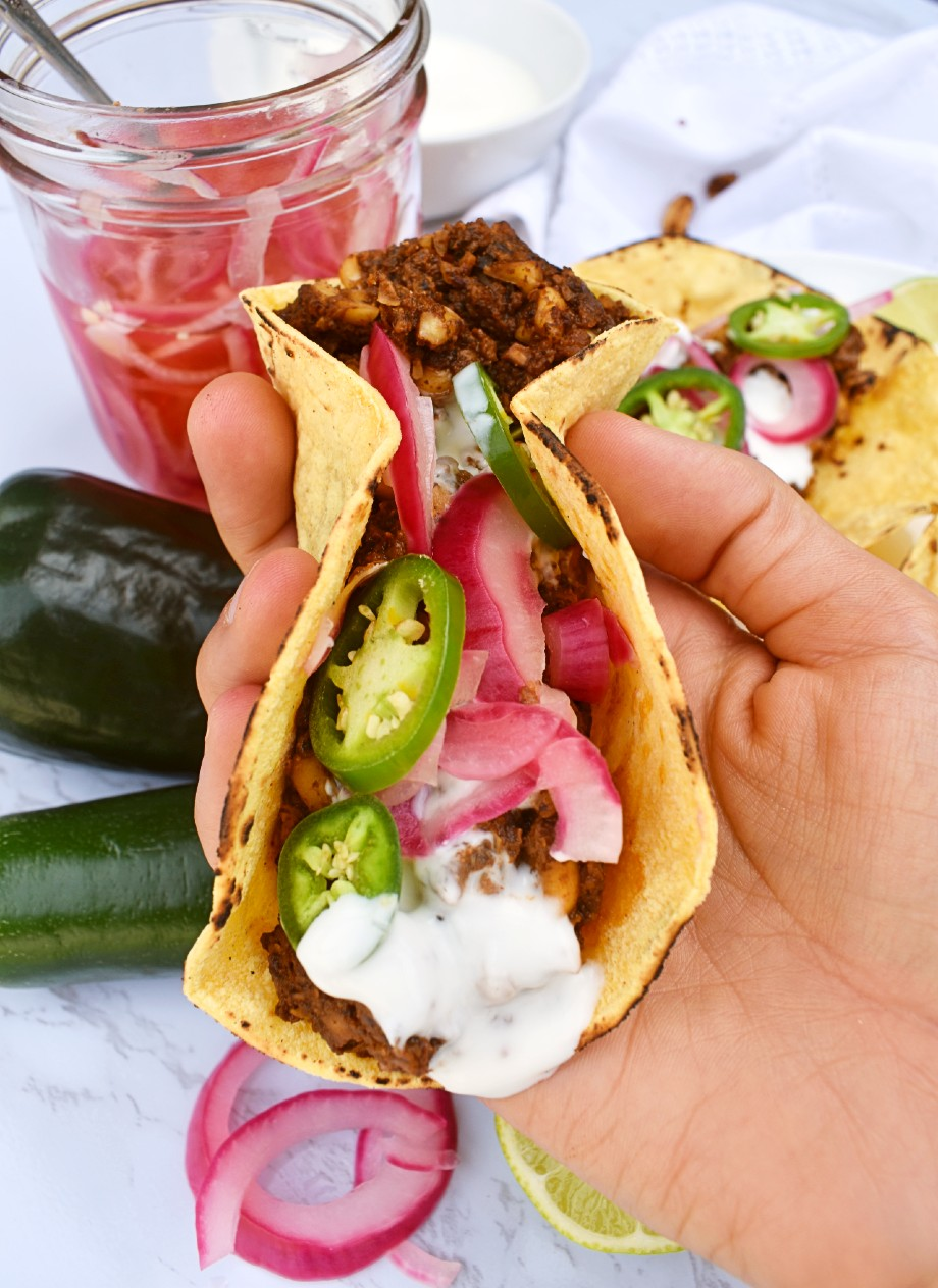 Peanut Tacos with Pickled Onions