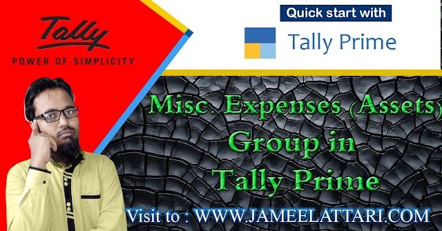 Misc Expenses (Asset) Group in Tally Prime   मिसलेनियस एक्सपेंसेस (असेट्स) ग्रुप में कौन सी  लेजर आती है