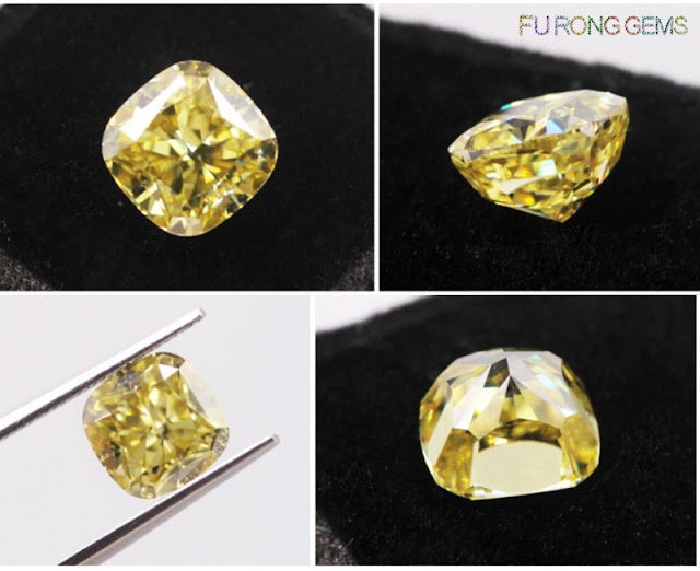 square-cushion-modified-brilliant-Crushed-ice-cut-Yellow-color-moissanite-stone