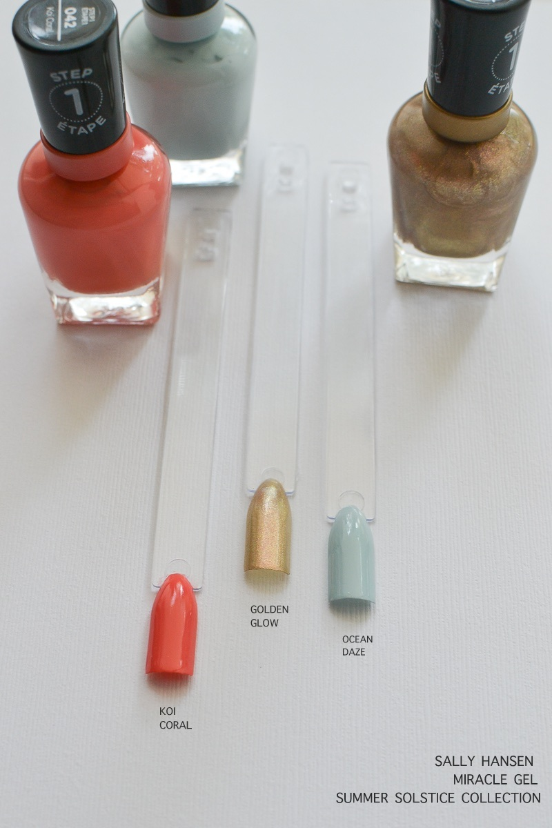 Sally Hansen Miracle Gel Nail Polish - Summer Solstice Collection  Koi Coral - Golden Glow - Ocean Daze  - Swatches