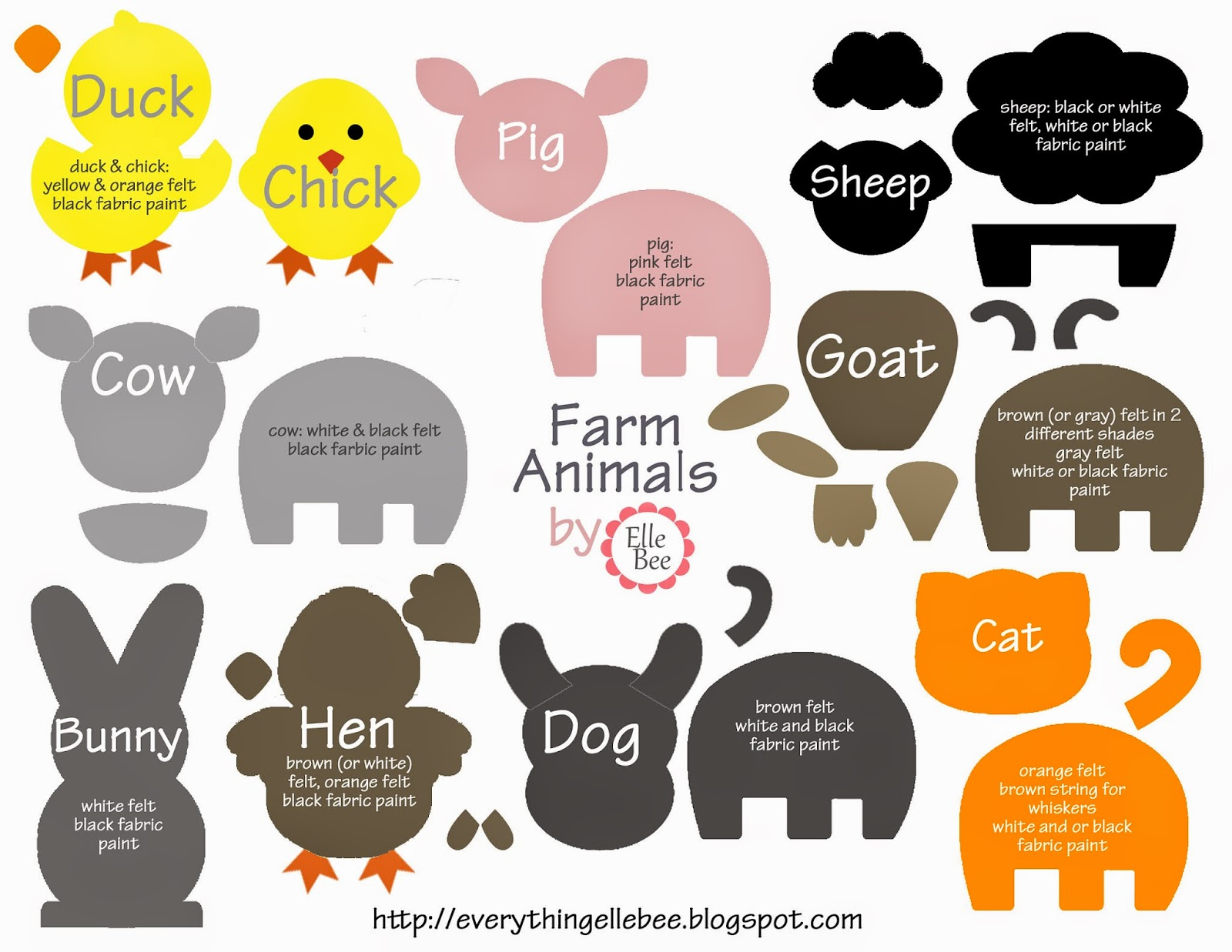 A little bit of everything free printable farm animal for Felt storyboard templates