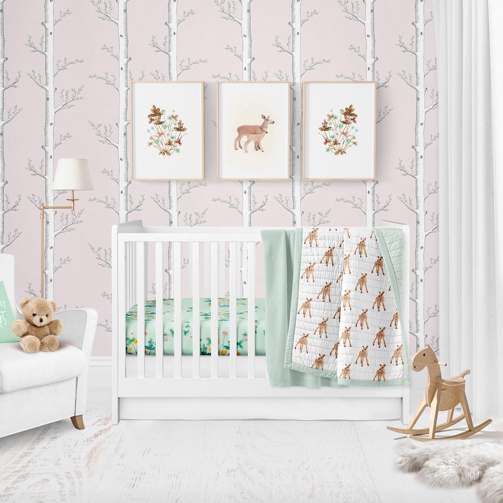 Modern Nursery Wallpaper: Modern Woodland Nursery, Gender Neutral Fabric And Wallpaper