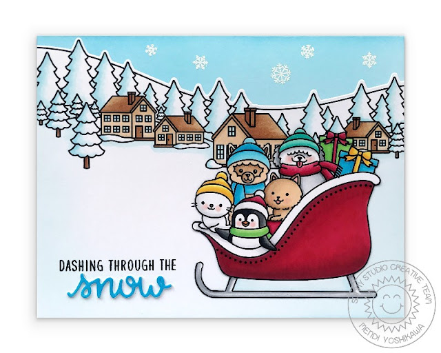 Sunny Studio Blog: Dashing Through the Snow Holiday Christmas Card (using Sledding Critters Stamps & dies and Winter Scenes Stamps)