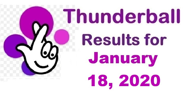 Thunderball Results for Saturday, January 18, 2020