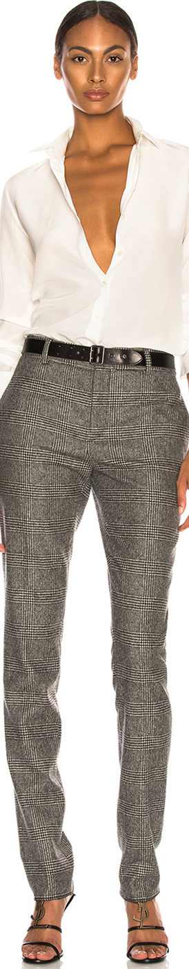 SAINT LAURENT Check Trousers
