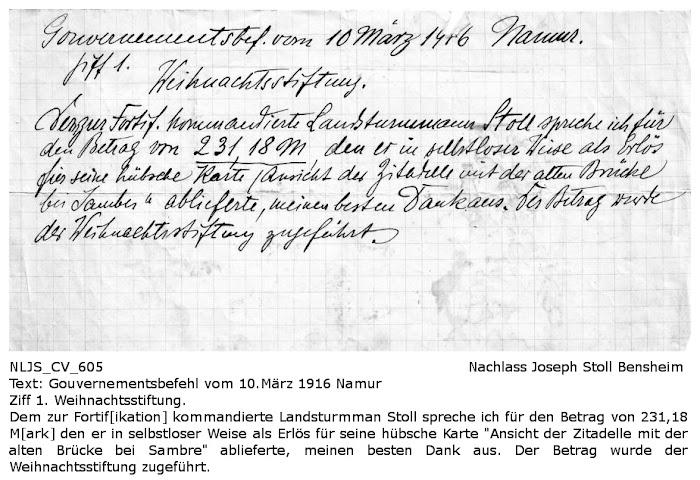 NLJS_CV_0605 - Danksagung und Würdigung für die von Joseph Stoll geleistete Spende aus dem Erlös seiner Postkarte, Nachlass Joseph Stoll Bensheim, Stoll-Berberich 2016
