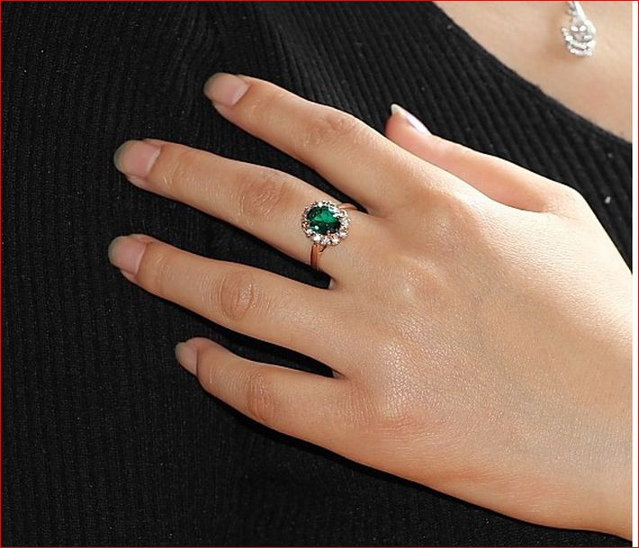 for gz fnj pure rings silver item women green thai chrysoprase jewelry stone sterling
