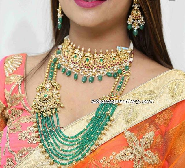 Emerald Beads Haram Antique Side Motif