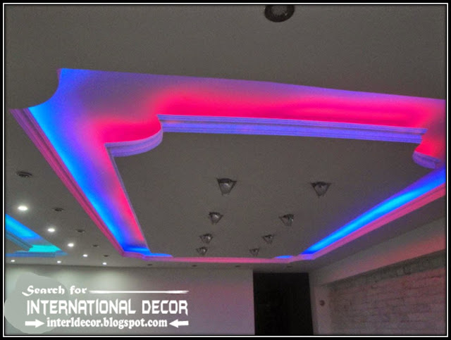 LED ceiling lights, LED strip lighting, gypsum false ceiling