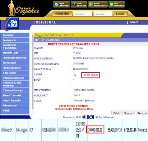 Selamat Kepada Member Setia Ompoker WD Rp 30.000.000,-