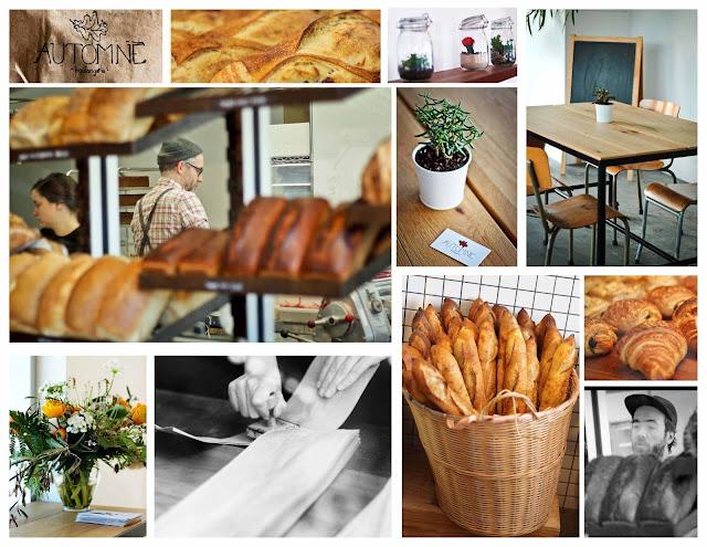 boulangerie, automne-boulangerie, fleurs, panier, baguettes, pains