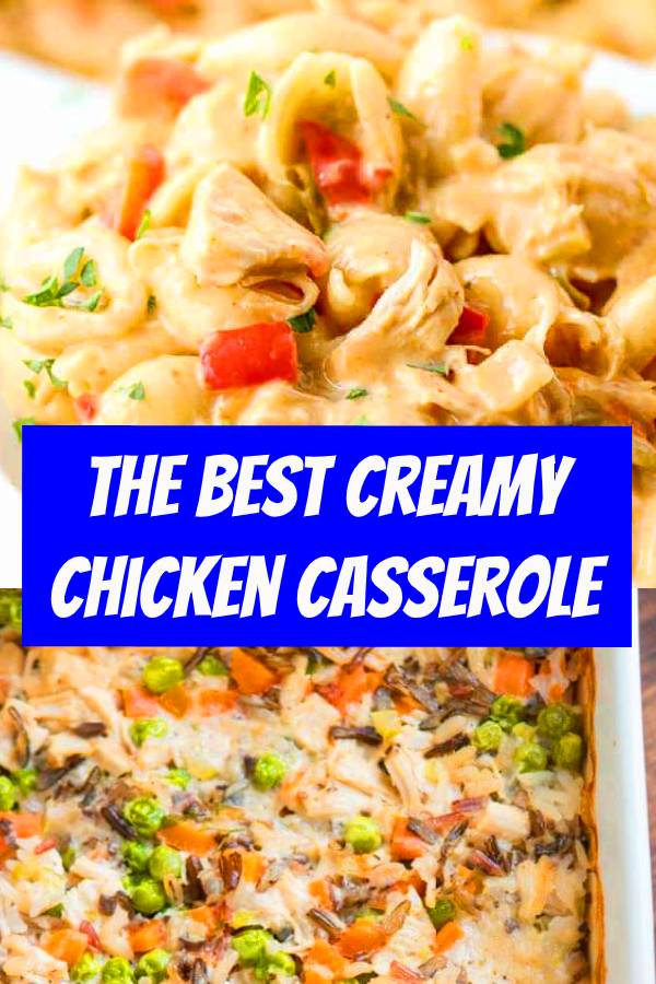 Chicken Casseroles are always a good idea! This Creamy Chicken Casserole Recipe with bacon, mushrooms, and cheese. A simple chicken casserole dinner recipe. Easy Creamy Chicken Casserole Recipe with mushrooms, bacon, and cheese in a cream of chicken soup sauce. #chicken #chickencasserole #casserole #dinner