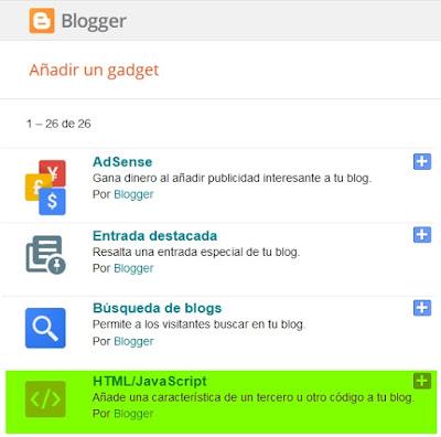 Blogger añadir HTML/Javascript