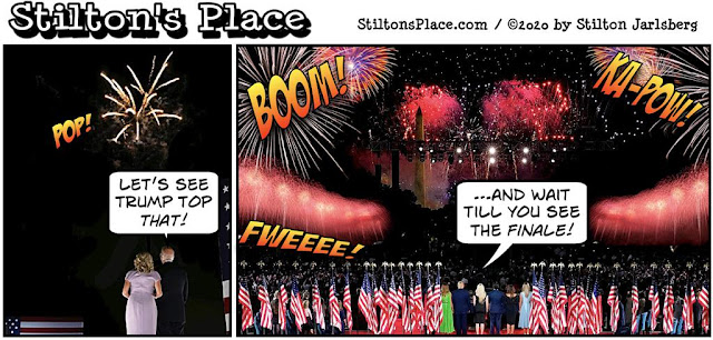 stilton's place, stilton, political, humor, conservative, cartoons, jokes, hope n' change, convention, fireworks, trump, biden, DNC, RNC, 2020
