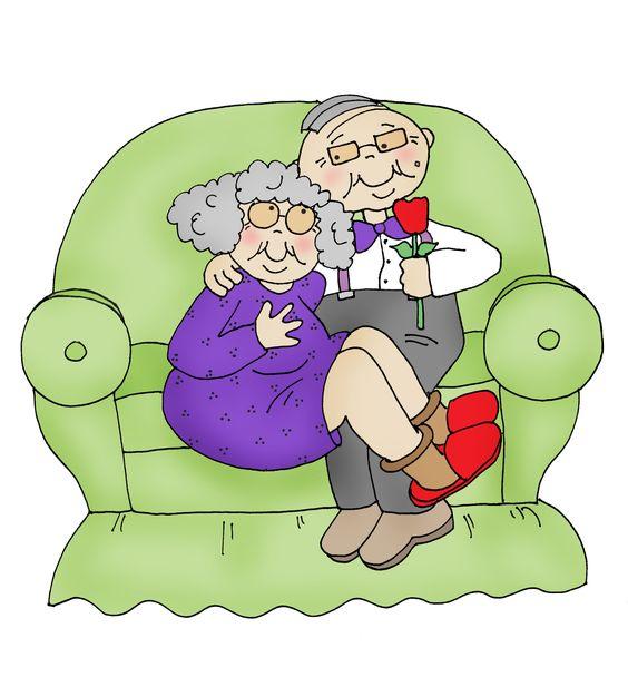 vector pareja de ancianos en el sofá le da una flor
